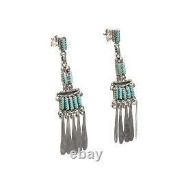 Navajo Yuselew Zuni Silver & Turquoise Earrings Vintage Needlepoint Pair