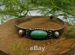 Navajo sterling green turquoise cuff bracelet Fred Harvey era vintage