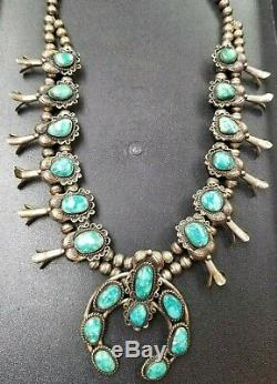 OLD PAWN Vintage Navajo 23 SQUASH BLOSSOM Necklace Sterling-NO RESERVE