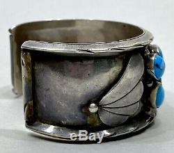 OLD Vintage Navajo Native American Sterling Silver Blue Turquoise Cuff Bracelet
