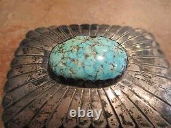 OLDER VINTAGE Navajo Sterling Silver Premium Turquoise Concho Belt Buckle