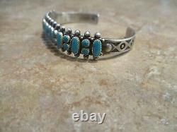 OLDER Vintage Native American Sterling Silver PETIT POINT Turquoise Row Bracelet