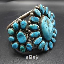 Old 1940s Vintage NAVAJO Sterling Silver & Blue TURQUOISE Cluster Cuff BRACELET