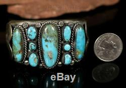 Old PAWN Navajo Vintage Royston Turquoise 1950's HEAVY STERLING Bracelet