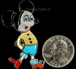 Old PAWN Vintage 60s Rare Mickey Mouse Zuni CAROL KEE Sterling Turquoise Ring