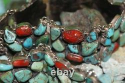 Old Pawn Museum Vintage Concho Belt Kingman Turquoise And Natural Coral 925