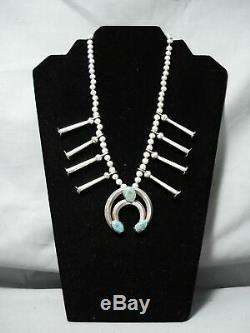 Old Vintage Navajo Royston Turquoise Sterling Silver Squash Blossom Necklace