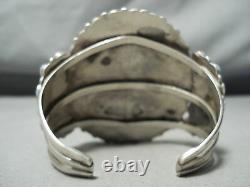 One Of Best Vintage Navajo Blue Gem Turquoise Sterling Silver Cluster Bracelet