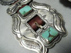One Of Best Vintage Navajo Green Turquoise Sterling Silver Concho Belt