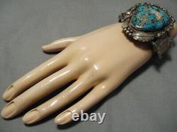 One Of Best Vintage Navajo Spiderweb Turquoise Sterling Silver Watch Bracelet