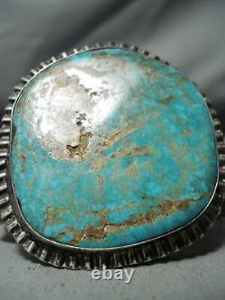 One Of Biggest Best Vintage Navajo Royston Turquoise Sterling Silver Bracelet