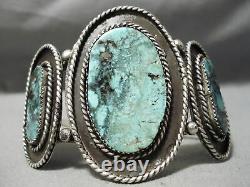 One Of The Best Vintage Navajo Blue Warrior Turquoise Sterling Silver Bracelet