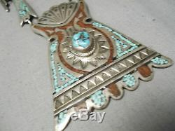 One Of The Best Vintage Navajo Turquoise Coral Sterling Silver Inlay Necklace