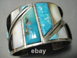 One Of The Best Vintage Navajo Turquoise Inlay Sterling Silver Bracelet Old