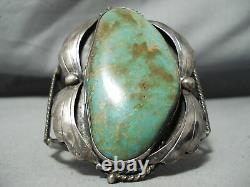 One Of The Biggest Vintage Navajo Royston Turquoise Sterling Silver Bracelet