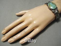 Opulent Huge Button Vintage Navajo Royston Turquoise Sterling Silver Bracelet