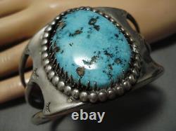 Opulent Vintage Navajo Deep Blue Turquoise Sterling Silver Bracelet Old