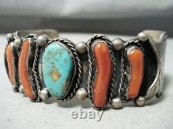 Opulent Vintage Navajo Royston Turquoise Coral Sterling Silver Bracelet