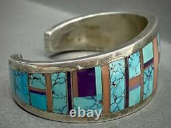 RARE Vintage Navajo Sterling Silver Turquoise Multi Stone Inlay Cuff Bracelet