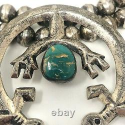 Rainbow Man Turquoise Navajo Squash Blossom Necklace Unsigned 191g Sterling VTG