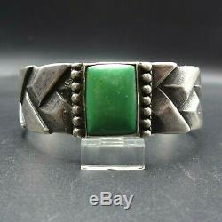 Rare 1920s Vintage NAVAJO Cast Woven Sterling Silver TURQUOISE Cuff BRACELET