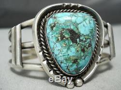 Rare Blue Wind Turquoise Vintage Navajo Sterling Silver Bracelet Old