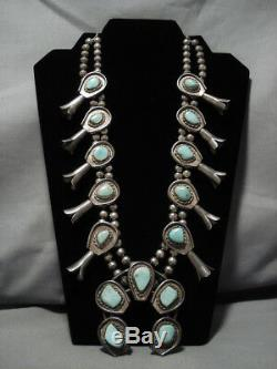 Rare Hachita Turquoise Vintage Navajo Sterling Silver Squash Blossom Necklace