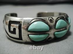 Rare Rick Tsosie Vintage Navajo Mint Green Turquoise Sterling Silver Bracelet
