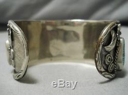 Rare Turquoise! Vintage Navajo Persin Sterling Silver Bracelet Old