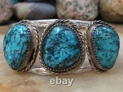 Rare Vintage Native American Navajo Spiderweb Turquoise Sterling Cuff Bracelet