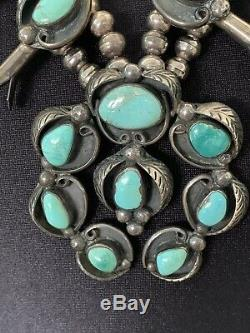 Rare Vintage Navaho Bisbee Lavender Pit Turquoise Squash Blossom Necklace
