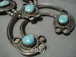 Rare Vintage Navajo Mcginnis Turquoise Sterling Silver Squash Blossom Necklace