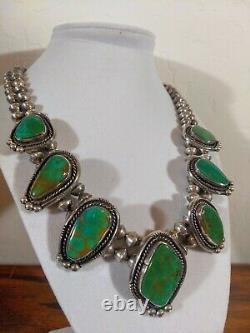 Rare Vintage Turquoise Sterling Silver Handcraft Squash Blossom Station Necklace