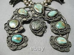 Royston Turquoise Vintage Navajo Sterling Silver Squash Blossom Necklace