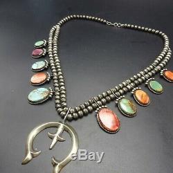 SELENA WARNER Vintage NAVAJO Sterling Silver Turquoise SQUASH BLOSSOM Necklace