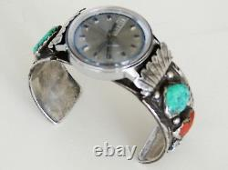 SIGNED Native American Navajo Sterling Silver Watch Bracelet Cuff Turquoise VTG