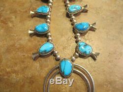 SPLENDID Vintage Navajo Sterling Silver BISBEE Turquoise SQUASH BLOSSOM Necklace