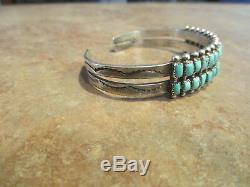SPLENDID Vintage Zuni / Navajo Sterling Silver Square Turquoise ROW Bracelet