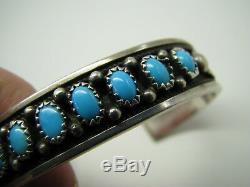 STERLING SILVER Navajo BANDED CUFF BANGLE BRACELET Turquoise SIGNED MJ VINTAGE