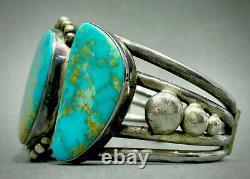 STUNNING HUGE Vintage Navajo Sterling Silver Gem Grade Turquoise Cuff Bracelet