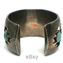 Shadowbox Navajo Cuff Bracelet Turquoise 88g 6.25in Sterling Silver 1960s VTG