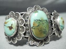Shocking Vintage Navajo Domed Royston Turquoise Sterling Silver Bracelet