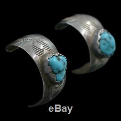 Signed Navajo Native American Vintage Turquoise Sterling Silver Post Earrings