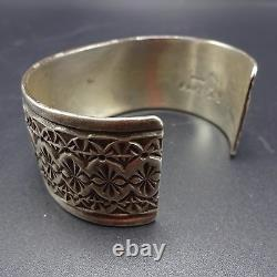 Signed Vintage NAVAJO Hand Stamped Sterling Silver & TURQUOISE Cuff BRACELET