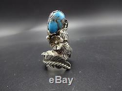 Signed Vintage NAVAJO Sterling Silver MORENCI TURQUOISE RING, size 7 adjustable