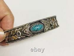 Signed Vintage NAVAJO Sterling Silver Turquoise Large Cuff BRACELET