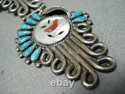 Signed Vintage Navajo Museum Turquoise Sterling Silver Squash Blossom Necklace