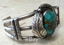 Signed Vintage Navajo Spiderweb Turquoise & Sterling Silver Bracelet