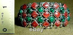 Signed Vintage Navajo Sterling Silver Turquoise Spiny Oyster Wide Cuff Bracelet