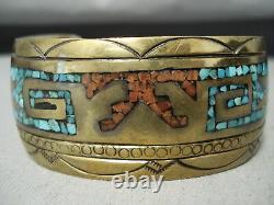Signed Vintage Navajo Turquoise Coral Sterling Silver Bracelet